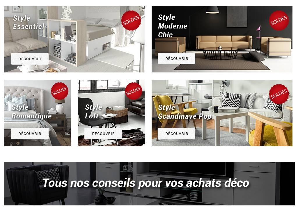 Les styles de mobilier proposés