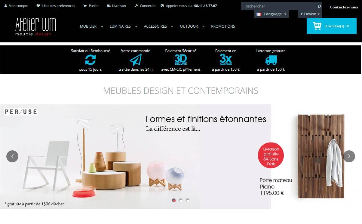 Vue de la page d'accueil